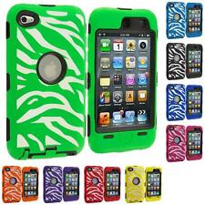 Color Hybrid Zebra Deluxe Case Cover for iPod Touch 4th Gen 4G 4+LCD Protector