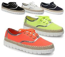 WOMENS ESPADRILLE LACE UP CANVAS FLAT PUMPS PLIMSOLLS TRAINERS LADIES SHOES