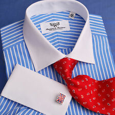 Blue Mens Business Formal Dress Shirt French Contrast Cuff Stripe Classic Luxury