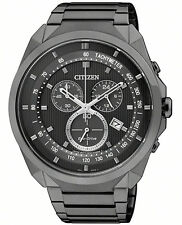 Citizen Eco-Drive Black Steel Mens Chronograph 100m WR Watch AT2155-58E