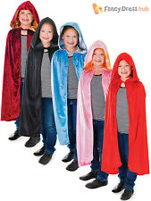 Kids Velvet Cloak Red Riding Hood Girls Fancy Dress Book Week Costume Cape