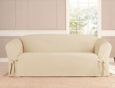 MICRO-SUEDE SLIPCOVER SOFA LOVESEAT CHAIR FURNITURE COVER, TAUPE BLACK BROWN