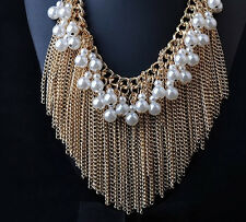 Gorgeous Haute Couture Pearl Gold & Gunmetal Chain Fringe Tassel Runway Necklace