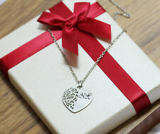 Filigree Heart Pendant Personalised Engraved Monogram Initials Necklace Silver
