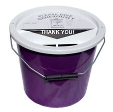 4 Charity Fundraising Money Collection Buckets 5.7 Litres - Purple