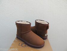 UGG BROWN WATER-RESISTANT CLASSIC MINI LEATHER SHEEPSKIN BOOTS, US 8/ EU 39 ~NEW