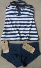 EX FAT FACE NAVY MIX NAUTICAL STRIPE NON-WIRED PADDED HALTERNECK TANKINI  10-16