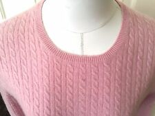 Anne Klein Cashmere Sweater Crew Fully Cabled Pink  S Small  S530