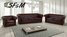 NEW SOFT LEATHER CHESTERFIELD SOFA ARMCHAIRS in ANTIQUE BROWN 3 AND 2 SEATERS