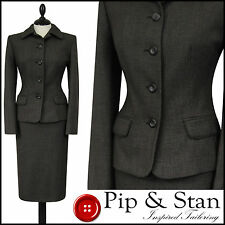 NEXT UK10/12 US6/8 PENCIL SKIRT SUIT BROWN 1940S 40S INSPIRED WOMEN LADIES SIZE