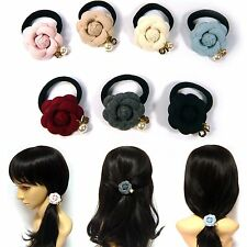 Classic Camellia Flower Dangle Pearl Elastic Ponytail Holder Hair Tie Rope Band