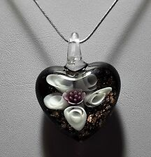 Murano Glass Pink & Gold Flower Heart Pendant on 925 Silver Necklace #Valentine