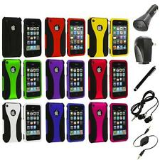 Color Black 3-Piece Rubberized Hard Case+Accessories for iPhone 3G 3GS Accessory