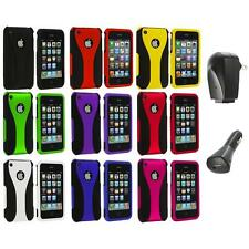 Color Black 3-Piece Rubberized Hard Case+2X Chargers for iPhone 3G 3GS Accessory