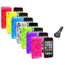 TPU Dog Paw Color Skin Case Cover+Car Charger for Apple iPod Touch 4th Gen 4G 4
