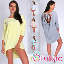 Casual Asymmetric Tunic Open Back 3/4 Sleeve Boat Neck Long Top Size 8-14 FT1858
