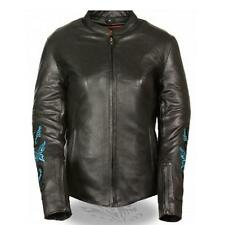 WOMENS LEATHER MOTORCYCLE JACKET w/ TURQUOISE BUTTERFLY & STAR DESIGN - SA30