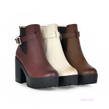 Sexy Womens Girls Mid Calf Buckle Platform Boots High Heels Shoes AU Size Y1508