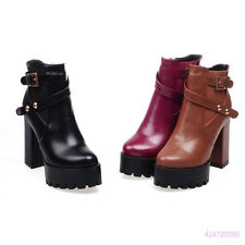 Hot Womens Girls Ankle Side Zip Platform Boots High Heels Shoes AU Size Y1532