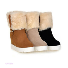 New Womens Girls Mid Calf Pull On Buckle Boots High Heels Shoes AU Size Y1419