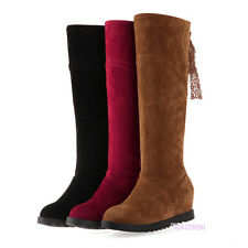 Hot Womens Girls Knee High Lace Up Boots Lace Med Heels Shoes AU All Size Y1445