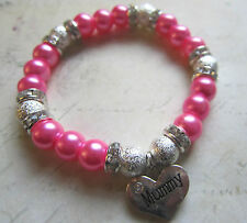 Handmade Mothers Day Diamante Pearl Bracelet - Choice of 14 Colours & 2 Charms
