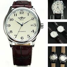 Luxury Classic Men's Automatic Mechanical Faux Leather Day Calendar  Wrist Watch