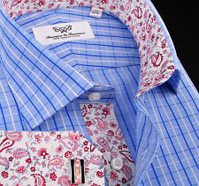 Mens Blue Luxury Checkered Formal Business Dress Shirt Pink Boss Thomas Paisley