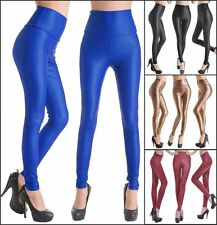 HOT Women High Waist Faux Leather Look Stretch Pants Leggings Chose Fit Size S-L