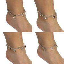 Cross Flower Heart Star Charms Rhinestone Anklet Silver with Clasp