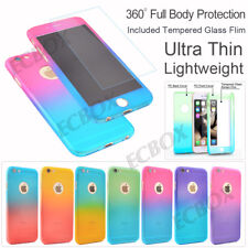 New 360° Full Body Armor Hybrid Case + Tempered Glass Cover For iPhone & Samsung