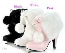 Women's Fashion  Hairy Foldable Mid Calf Boots High Heel Shoes AU All Size TB753