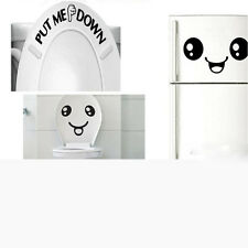 Smiley Face WC Toilet Decal Wall Mural Art Decor Funny Bathroom Sticker Vinyl 1X
