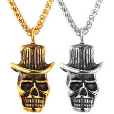 316L Stainless Steel Skull Skeleton Pendant Necklace 18K Gold Plated Men Jewelry