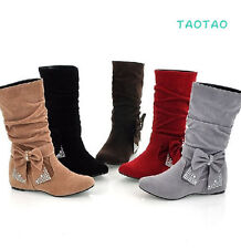 Cute Fashion Women's Bowknot Low Heel Shoes Mid- Calf Boots AU All Size TB017
