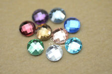 100 PCS 8mm Round Glass Faceted Glass Flat Back Jewels