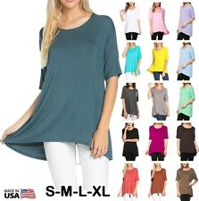 USA Women Basic Tunic Scoop Neck Long Top Short Sleeve Hi Low Blouse T-Shirt