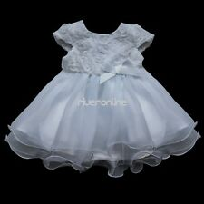 Baby Girls White Rose Flower Dress Wedding Easter Christening Baptism Party Gown