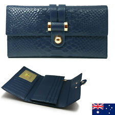 Genuine Leather Ladies Womens Tri-Fold Wallet Purse Coins Zip Black Blue Brown