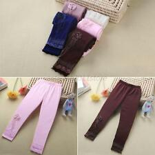 Kids Baby Girl Lace Flower Leggings Dance Tight Pant Stretch Skinny Trouser 2-7Y