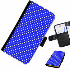 DOT06rb BLUE WHITE DOT LEATHER WALLET/FLIP PHONE CASE COVER FOR ALL MODELS