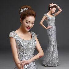 Silver Long Sequin Bridesmaid Formal Gown Ball Party Cocktail Evening Prom Dress