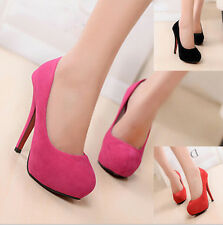 Womens Faux Suede  High Heels Platforms Pumps Stilettos Bridals Court Prom Shoes