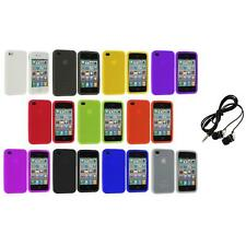 Color Silicone Rubber Gel Skin Case Cover Accessory+Headphones for iPhone 4S 4G