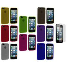 Fingerprint Circle TPU Rubber Jelly Case Cover+Screen Protector for iPhone 5 5S