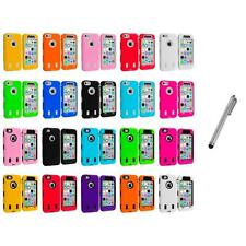 For iPhone 5C Hybrid Hard/Soft Case Cover with Screen Protector+Metal Pen
