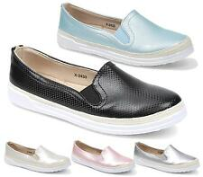 WOMENS TRAINERS LADIES PUMPS FLATS SLIP ON METALLIC SKATER SHOES CASUAL SIZE NEW