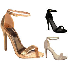 Ladies Suede Faux Leather Textured Patent Ankle Strap Open Toe High Heels
