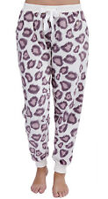 Ladies Fleece Pants Bottoms Leopard Animal Print Purple Pink UK 8 10 12 14 16 18