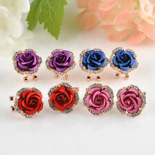 Elegant Women Cute Jewelry Rose Flower Crystal Rhinestone Ear Studs Earrings